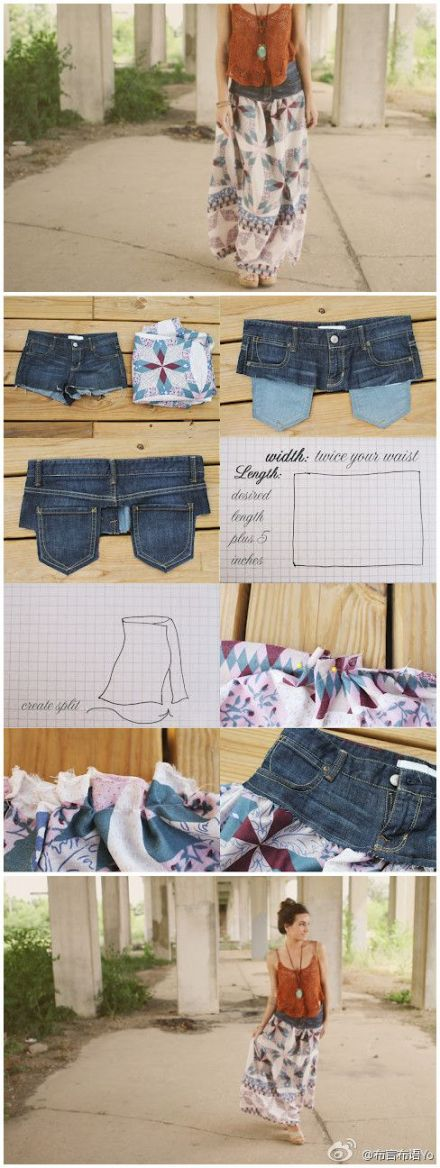 Turn old jeans into a flowy skirt