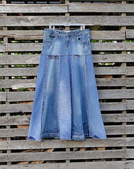 Denim skirt made from recycled jeans