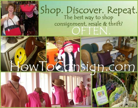 shop discover repeat, says HowToConsign.com