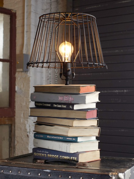 "Grab 6-10 books that ""speak"" to you or a loved one, and turn them into a reading lamp!"