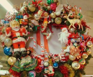 Nostalgic thrift-store holiday wreath