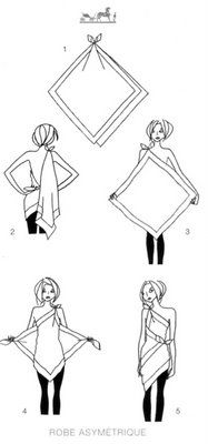 HowToConsign.com finds a nifty way to turn 2 scarves into a dress