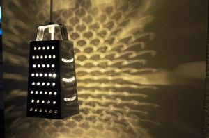 Turn a thrift shop cheeses grater into a lamp