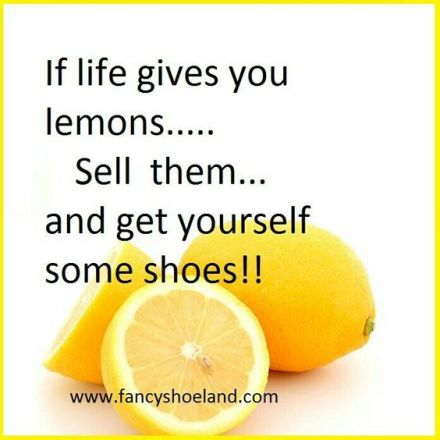 If  life gives you lemons. Sell them and get yourself some shoes